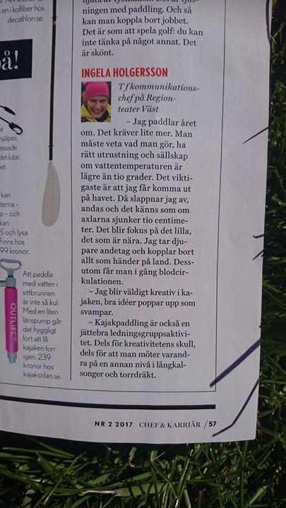 Focus on paddling and paddling as a group activity in the swedish magazine @chef & karriär! (Manager & Career).  Ingela Holgersson feel proud & humble being cited in the context of one of the great kayak leaders in Sweden Carl Crafoord from Friluftsfrämjandet! :-)  Visit Scandinavia VisitSweden West Sweden including Gothenburg Bohuslän Västsverige Norra Bohuslän Tanum Turist Grönemad destination Grebbestad Svenska Ekoturismföreningen